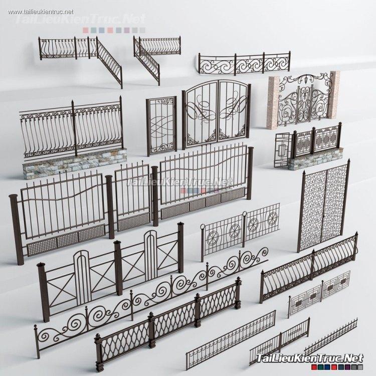 Thư viện tổng hợp 16 Model 3dsmax về Cổng và lan can tường rào sắt P8