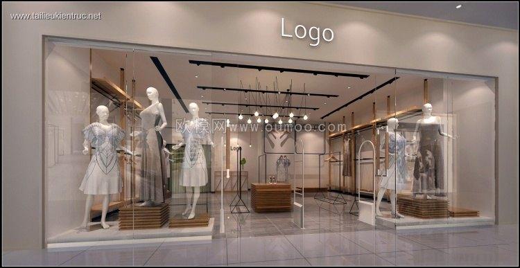 Thư viện 3d model Shop trưng bày bán quần áo, đầm, váy P2