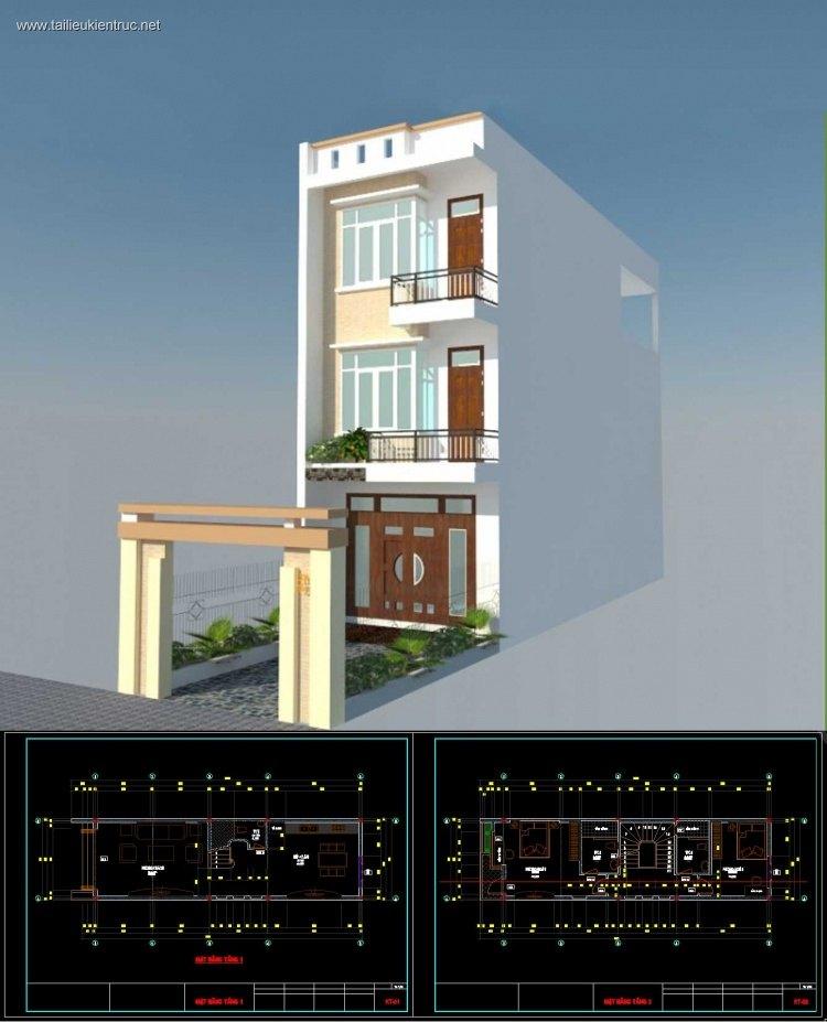 Hồ sơ thiết kế nhà phố 3 tầng diện tích 4,5x16m 085