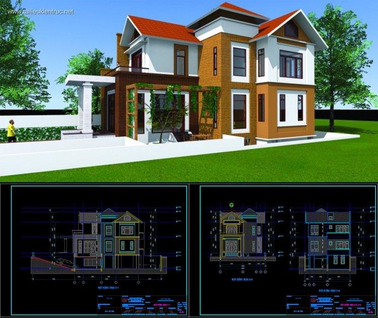 Hồ sơ thiết kế thi công biệt thự 3 tầng diện tích 10x14m 073