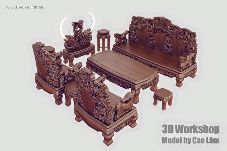 Thư viện 3d Model bộ bàn ghế Đồng kị hoa văn rồng cực chất