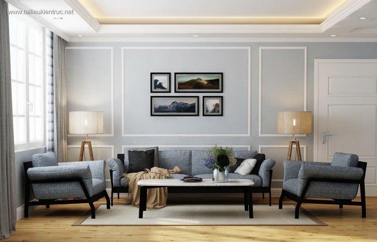Phối cảnh nội thất 3D phòng khách chung cư tân cổ điển 00030