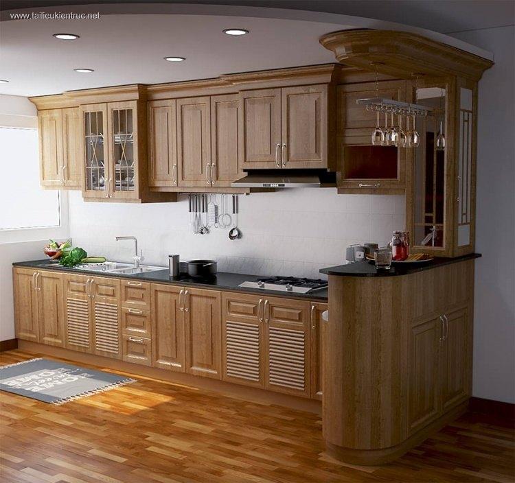 Thư viện 3dsmax thiết kế tủ bếp gỗ tự nhiên phong cách cổ điển