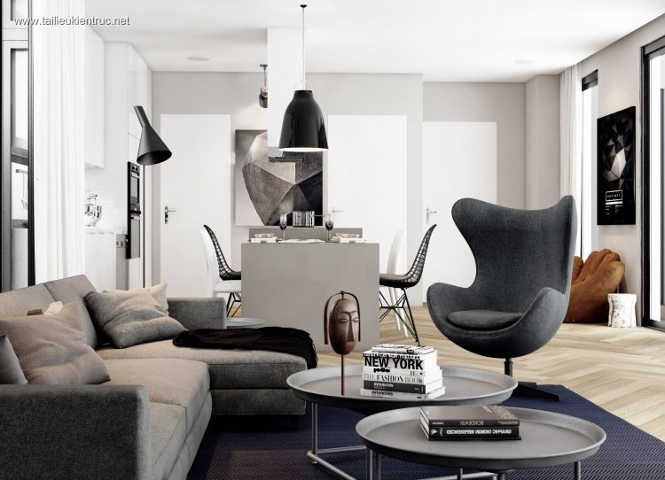 Phối cảnh nội thất 3D phòng khách hiện đại 00031