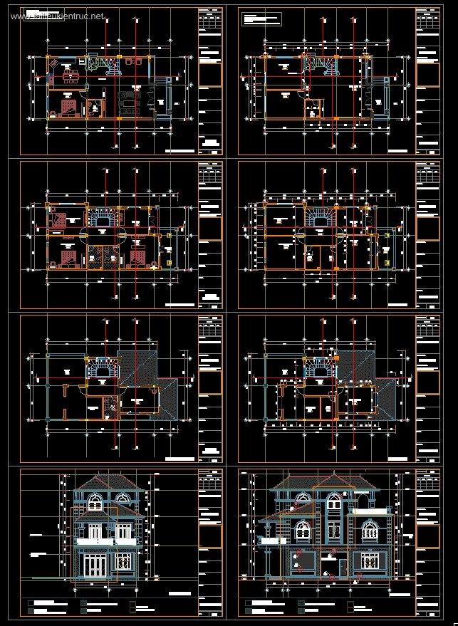Hồ sơ thiết kế thi công biệt thự tân cổ điển 3 tầng diện tích 7,6x14,9m 074