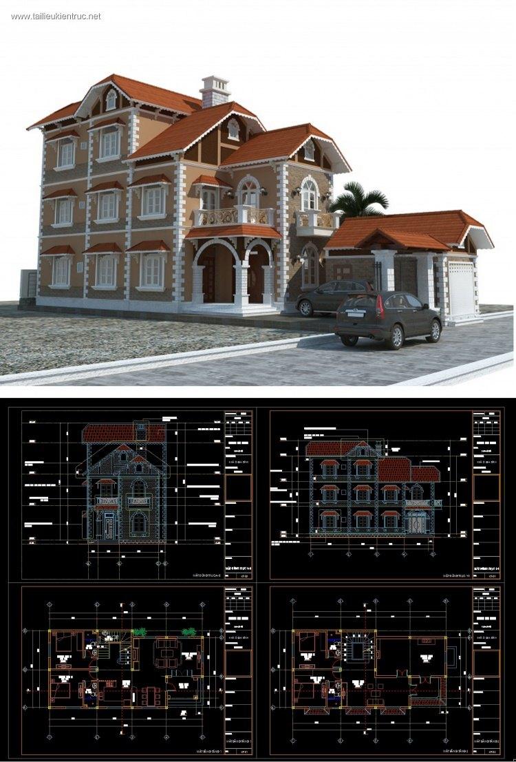 Hồ sơ thiết kế thi công biệt thự 3 tầng Pháp cổ diện tích 9x23m 075