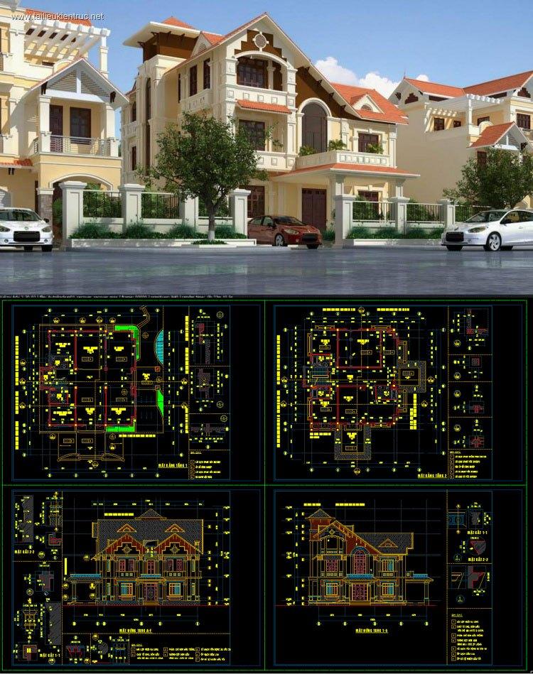 Hồ sơ thiết kế thi công biệt thự 3 tầng Pháp cổ diện tích 17,2x17,9m 076