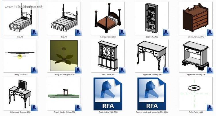 Thư viện Revit bàn ghế, giường, kệ phong cách cổ điển