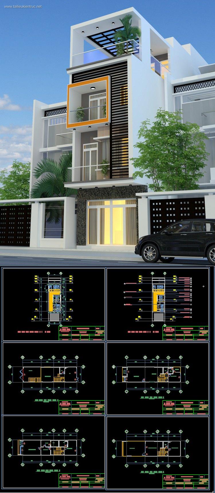 Hồ sơ thiết kế nhà phố 4 tầng diện tích 5x17,5m 089 Full kiến trúc