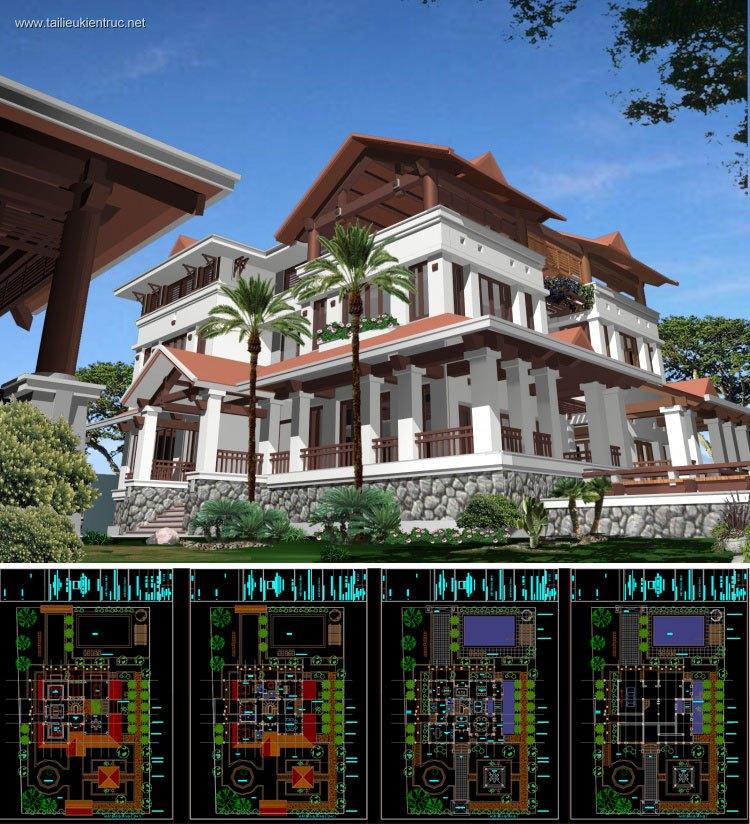 Hồ sơ thiết kế thi công biệt thự 3 tầng diện tích 1500m2 077