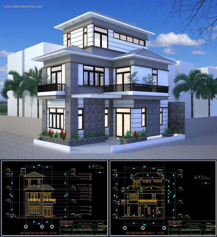 Hồ sơ thiết kế thi công biệt thự 3 tầng mái dốc diện tích 6,8x10,3m 079