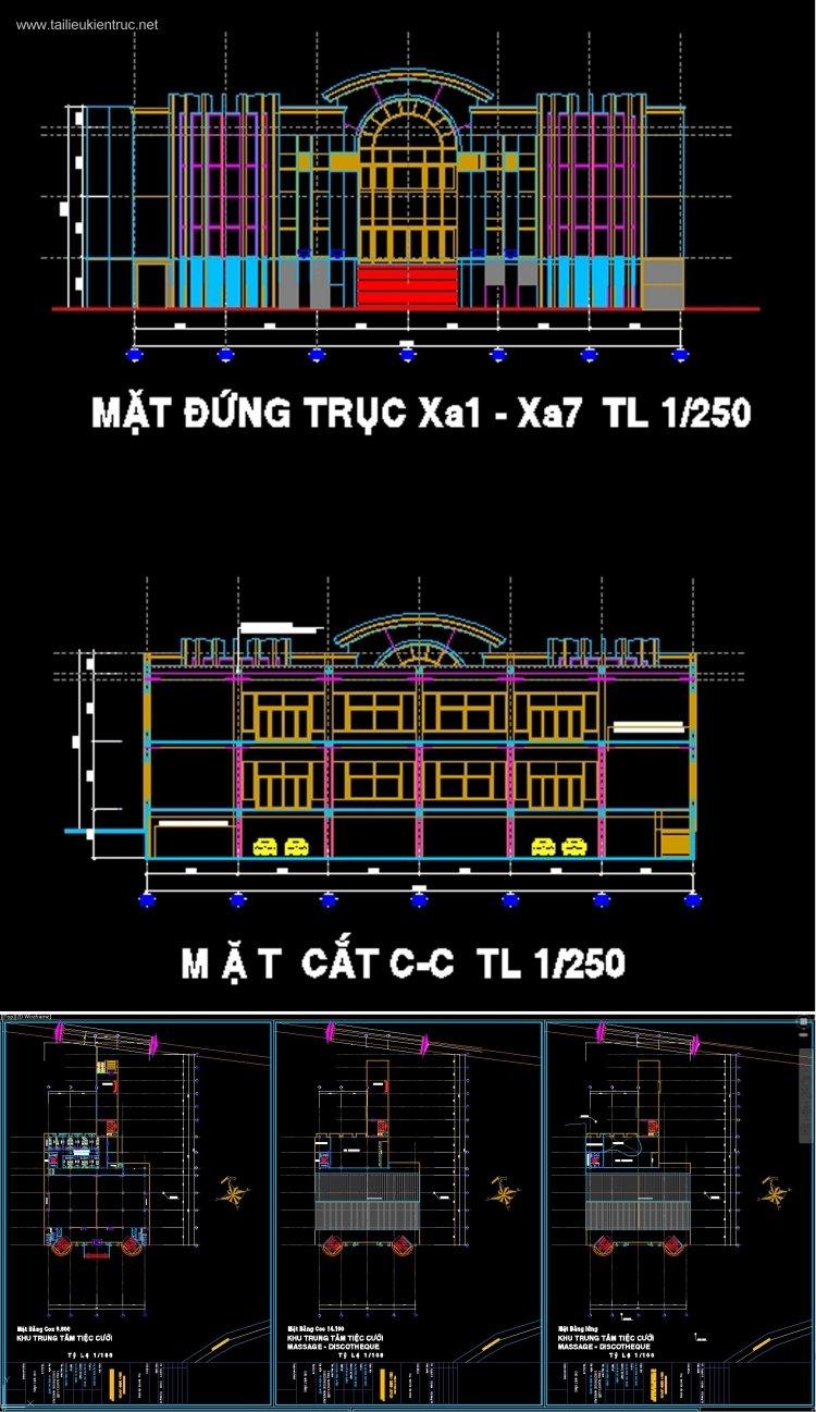 Hồ sơ thiết kế Nhà Hàng tiệc cưới Bình Minh Buôn Ma Thuột Full kiến trúc và kết cấu