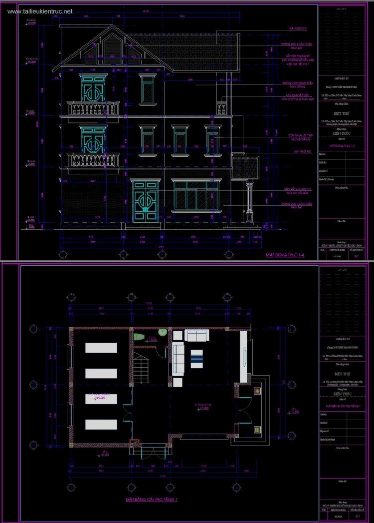 Hồ sơ thiết kế cải tạo biệt thự 3 tầng mái dốc Linh Đàm diện tích 7,7x11,7m 080