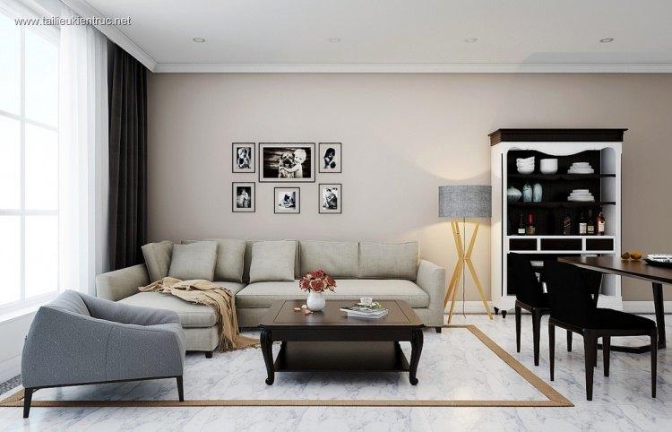 Phối cảnh nội thất 3D phòng khách + bếp chung cư Time city Hiện đại và đẹp full file max 00037