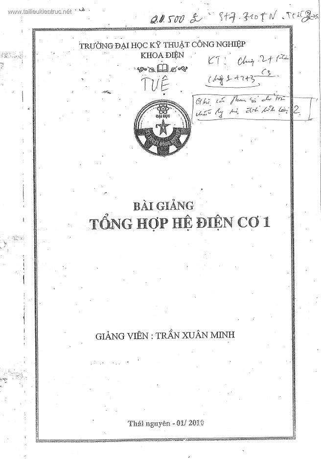 Bài giảng tổng hợp hệ điện cơ 1 - Giảng viên Trần Xuân Minh