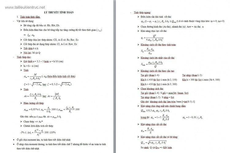 Tóm tắt lý thuyết tính toán dầm, cột, sàn, vách
