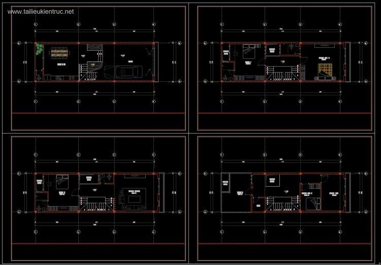 Hồ sơ thiết kế xin phép nhà phố 4 tầng diện tích 5x15mm 093