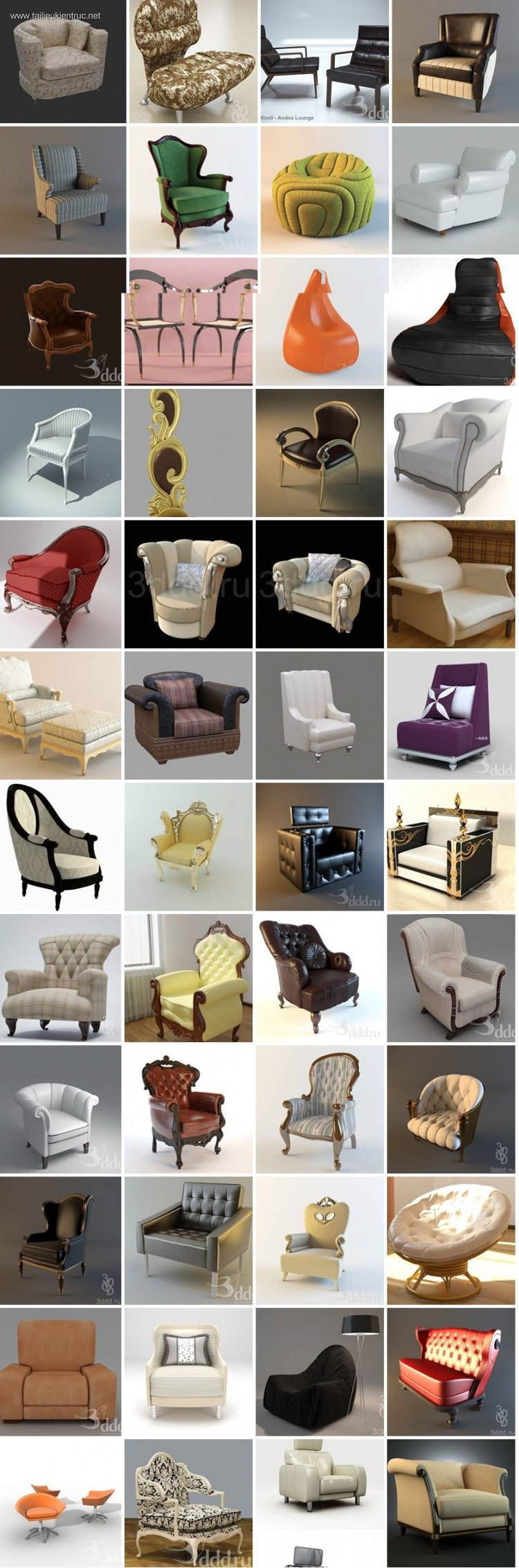 Thư viện tổng hợp 173 model 3d ghế các loại phong cách Tân cổ điển 00029