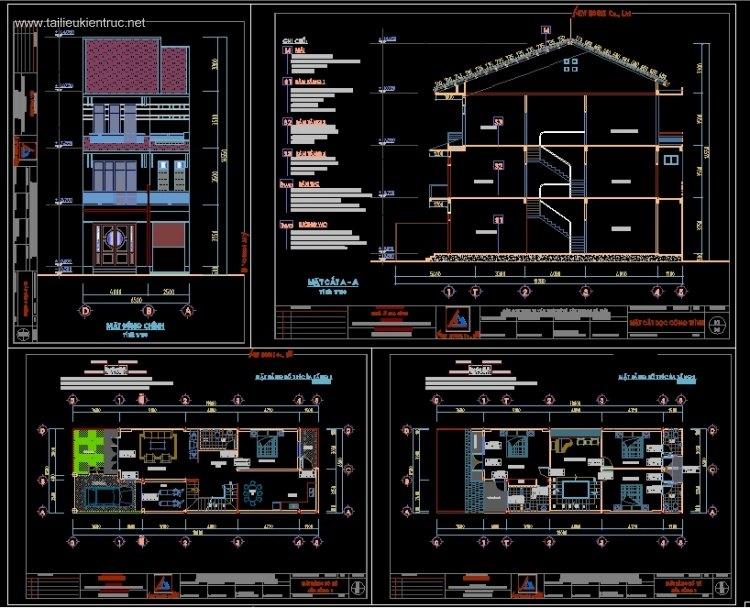 Hồ sơ thiết kế nhà phố 3 tầng diện tích 6,5x19m 096 Full kiến trúc