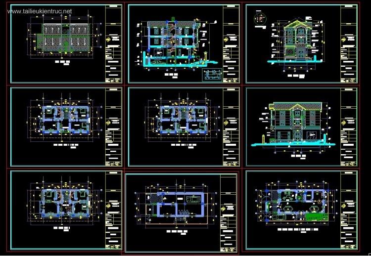 Hồ sơ thiết kế thi công biệt thự 3 tầng mái dốc diện tích 10x20m 082 full kiến trúc, kết cấu, điện nước