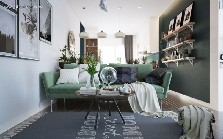 Phối cảnh nội thất 3D phòng khách phong cách Scandinavian 00043