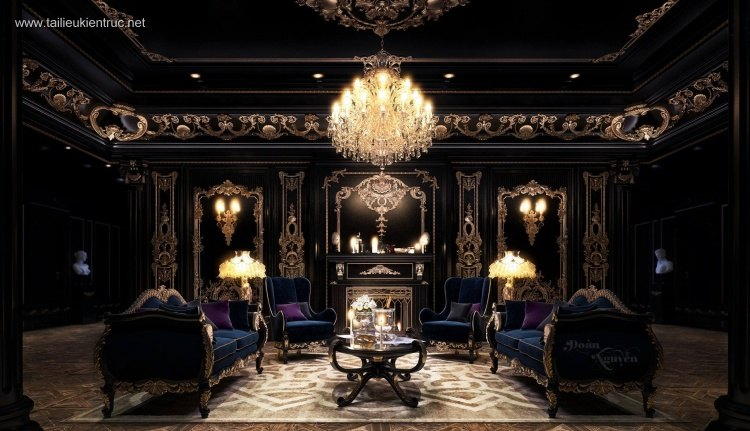 Phối cảnh nội thất 3D phòng khách phong cách Cổ điển 00044