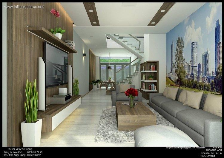 Phối cảnh nội thất 3D phòng khách + Bếp nhà phố đẹp 00045