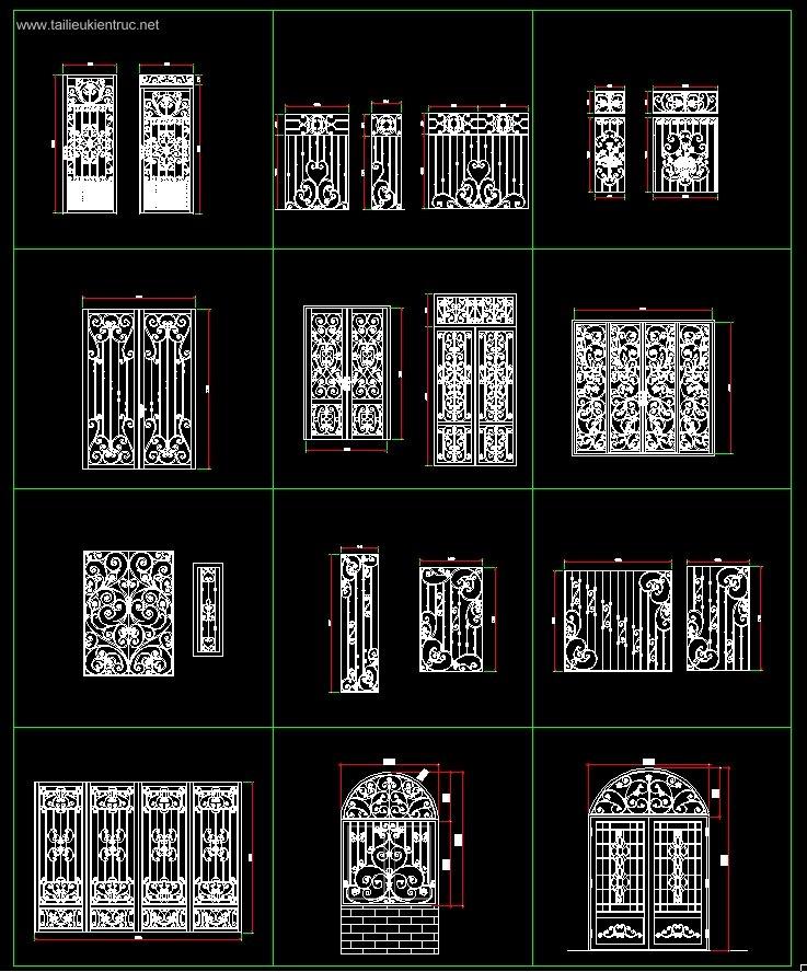 Thư viện Autocad 2d các bộ Hoa sắt cửa sổ Tân cổ điển full P1