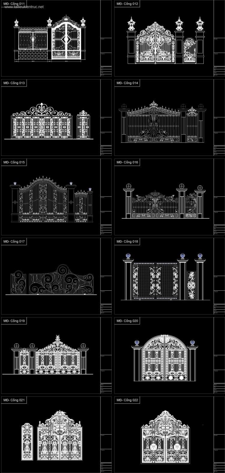 Thư viện Autocad 2d các bộ Cổng biệt thự Tân cổ điển P2