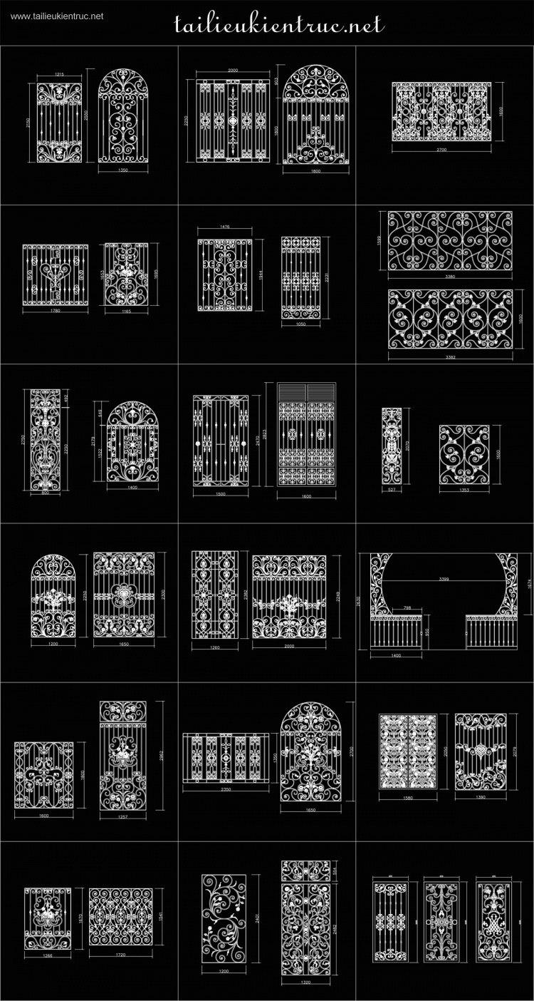 Thư viện Autocad 2d các bộ Hoa sắt cửa sổ Tân cổ điển full P2