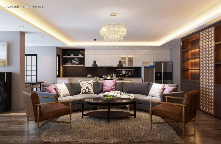 Phối cảnh nội thất 3D phòng khách chung cư Hiện đại và đẹp full file max 00038