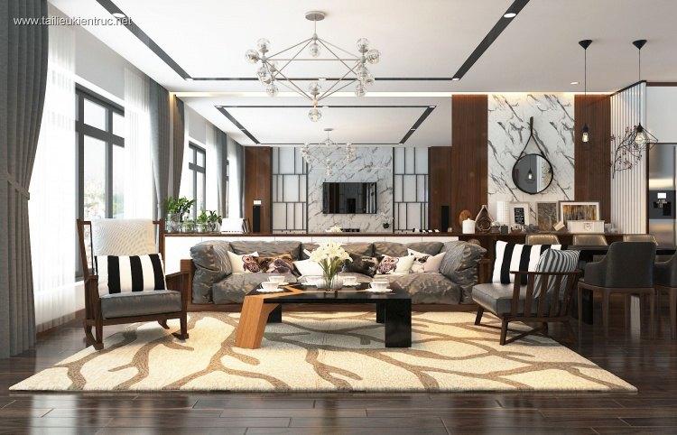Phối cảnh nội thất 3D phòng khách Hiện đại và đẹp 00050