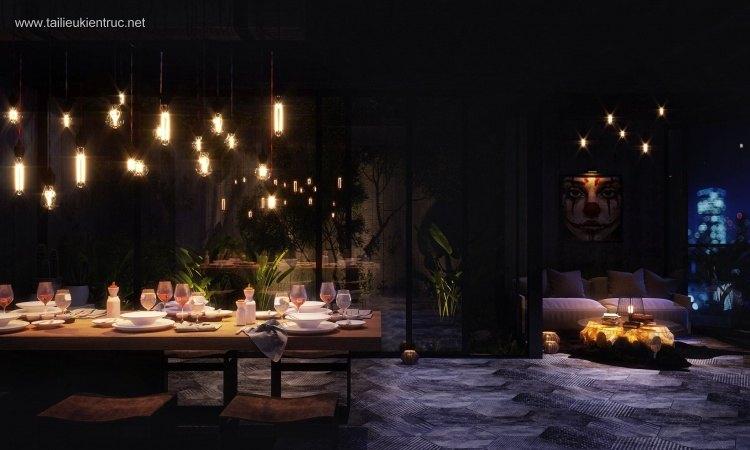 Phối cảnh 3d Nội thất phòng ăn phong cách Hiện đại 0017