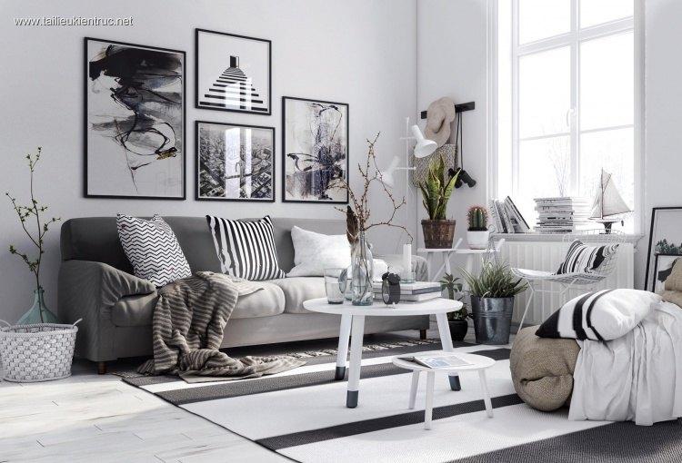 Phối cảnh nội thất 3D phòng khách với phong cách Hiện đại và đẹp 00052