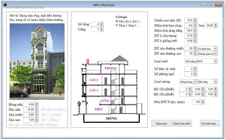 Phần mềm dự toán nhà dân dtPro MyHouse V2.0 (Beta) full download