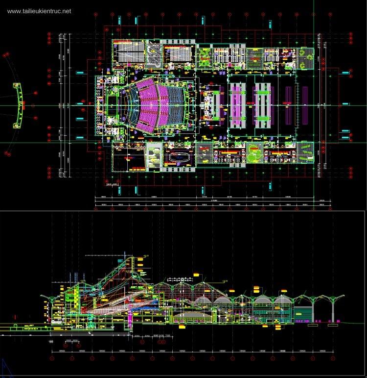 File autocad thiết kế Trung tâm hội nghị Quốc Gia tham khảo