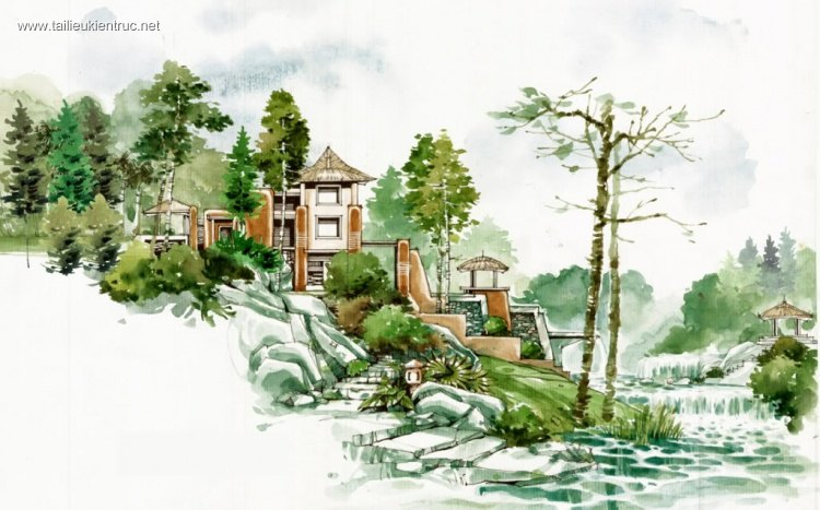 Thư viện Bộ sưu tập diễn họa bằng tay màu nước P1