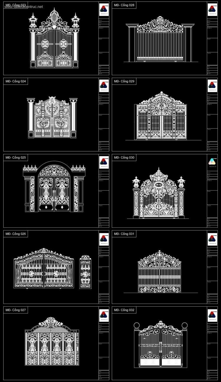 Thư viện Autocad 2d gồm 10 bộ Cổng biệt thự Tân cổ điển P3
