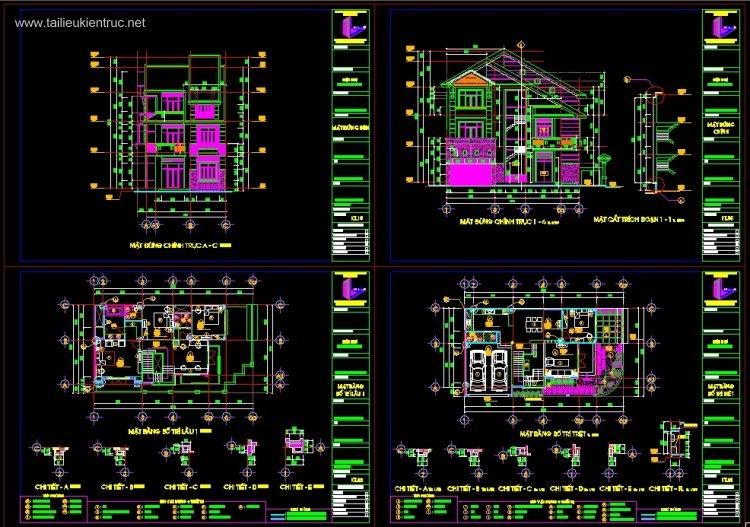 Hồ sơ thiết kế Biệt thự 3 Tầng diện tích 10x18m 086 Full kiến trúc, kết cấu và điện nước