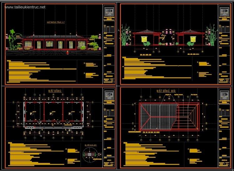 Hồ sơ thiết kế nhà Lớp học 3 phòng Trường mầm non Đức Thắng