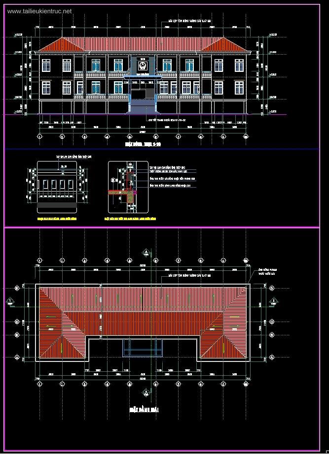 Hồ sơ thiết kế thi công Ủy Ban nhân dân Xã 2 tầng diện tích 11x33m mẫu 09