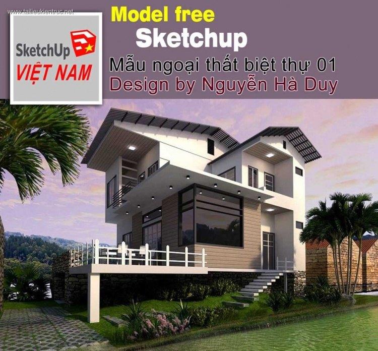 Phối cảnh 3d file Sketchup biệt thự 2 tầng mẫu 00021