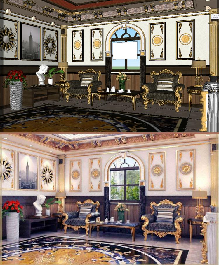 Phối cảnh nội thất 3D phòng khách File Sketchup phong cách tân cổ điển 00055
