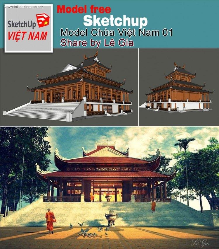 Phối cảnh 3d Sketchup Chùa Việt Nam 05