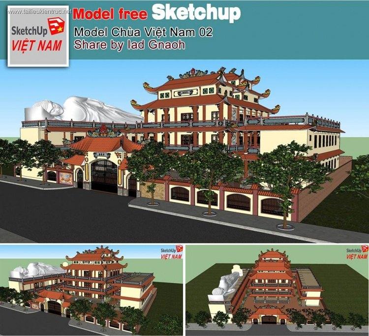 Phối cảnh 3d Sketchup Chùa Việt Nam 06