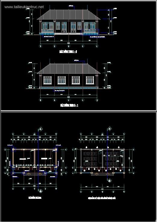 Hồ sơ thiết kế nhà Lớp học 2 phòng 1 tầng Trường Tiểu Học