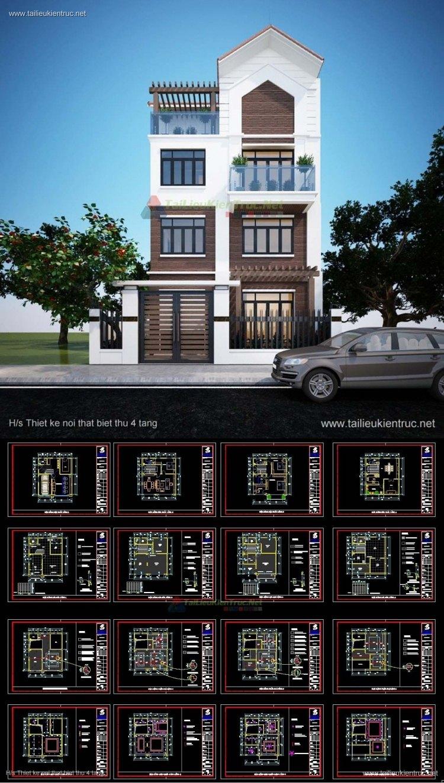 Hồ sơ thiết kế thi công nội thất Biệt thự 4 tầng mẫu 006 Full