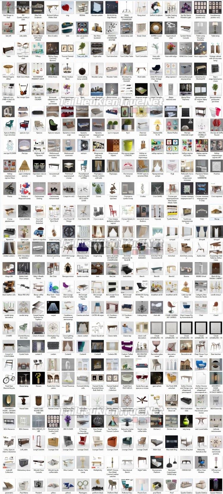 Tổng hợp 384 Model 3D về đồ đạc nội thất Full Vol 8