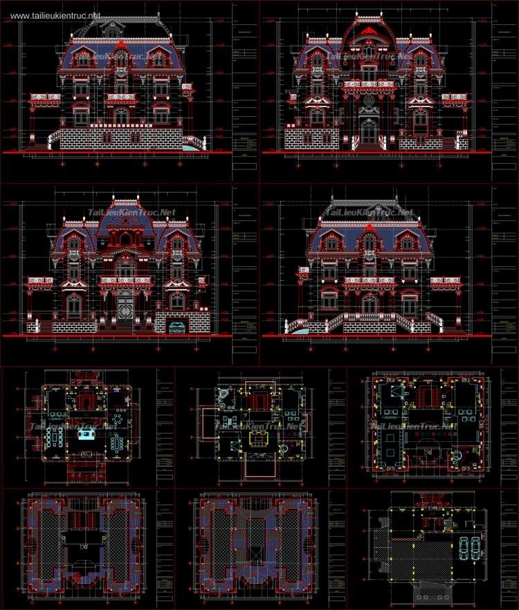 Hồ sơ thiết kế Biệt thự Lâu đài 3 Tầng Tân cổ điển diện tích 15x18m - 0044