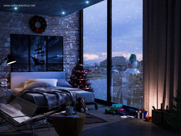 Phối cảnh phòng ngủ Master đêm giáng sinh nô en full 3ds max 00058